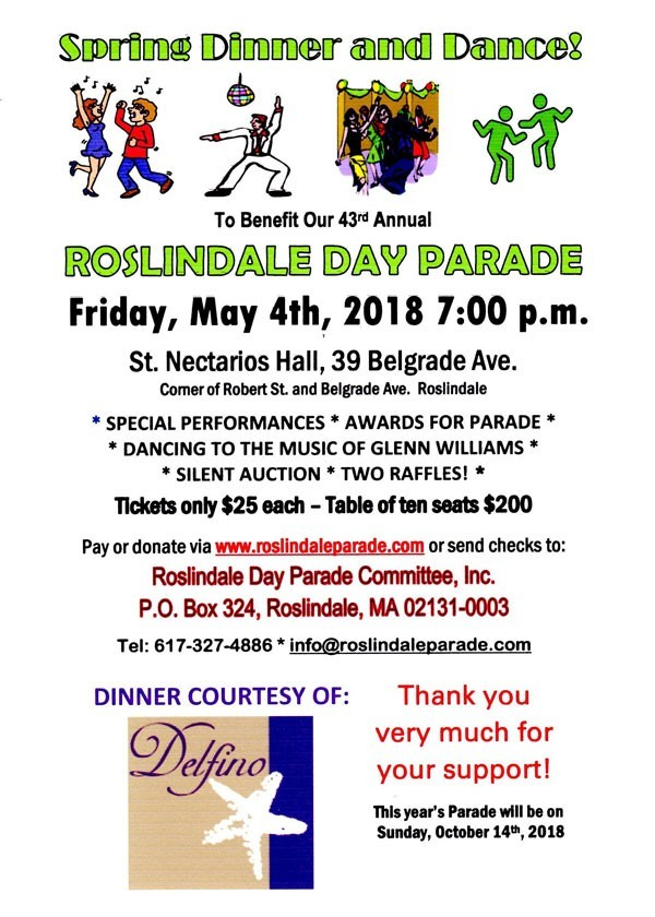 Roslindale Day Parade Annual Spring Dinner and Dance - May 4th, 2018